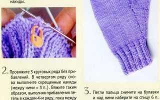 Как вязать палец на варежке спицами